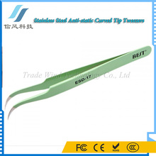 BST-EDS-17 Stainless Steel Anti-static Curved Tip Tweezers Curved Eyelash Extension Tweezers