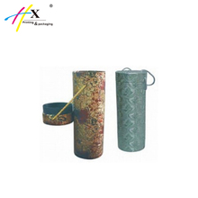 Handmade Paper Round Tube Wine Glass Package Box with Handle