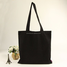 China wholesale custom logo black color 12oz canvas tote bag/cheap plain cotton shoulder shopping bag