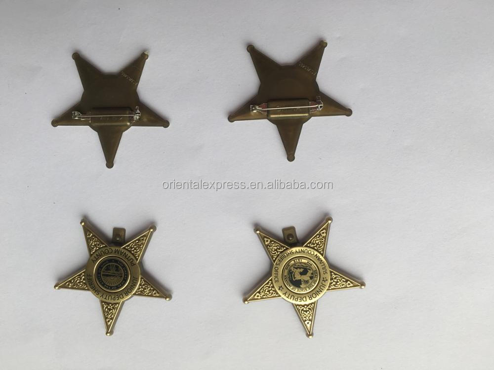 gold /silver five-poited star plastic safety lapel pin bobby pins w/clip