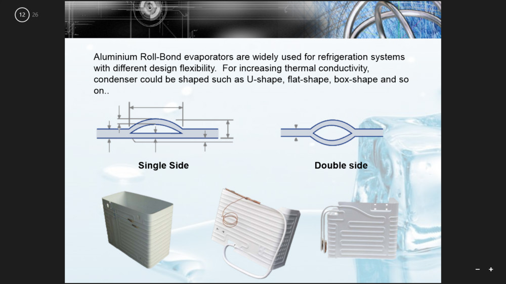 Aluminium Roll Bond Evaporator for Refrigerator