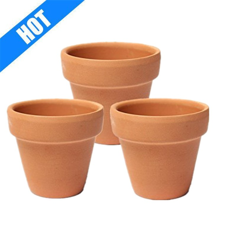3pcs Brown Clay Small Terracotta Plant Flower Pot