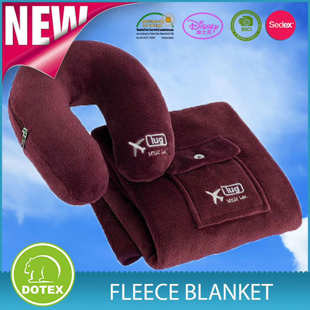 Airline products 100%polyester BSCI SEDEX Audited manufacturer polar fleece travel kit airline use U sharpe pillow+blanket