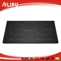 Grade Crystal Ceramic Glass Double Head Induction Cooktop, Temperature Sensor Touch Induction Cooker