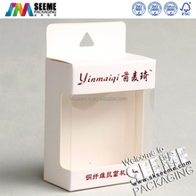 custom printed hanging white packaging paper box with clear pvc window