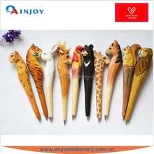 Hot sell wooden craft pen Classic wooden animals pen Creative stationery gift pen