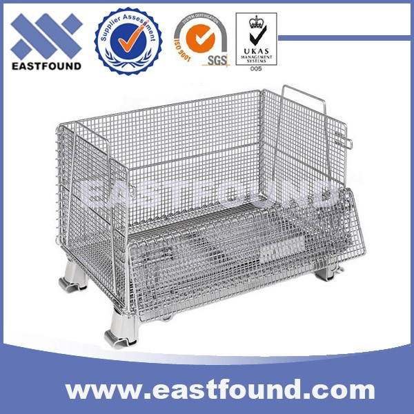 Warehouse Galvanized Portable Metal Storage Foldable Cage