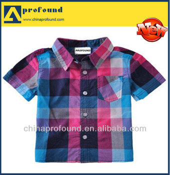 2014 Children's Plaid shirt little boy short sleeve shirts