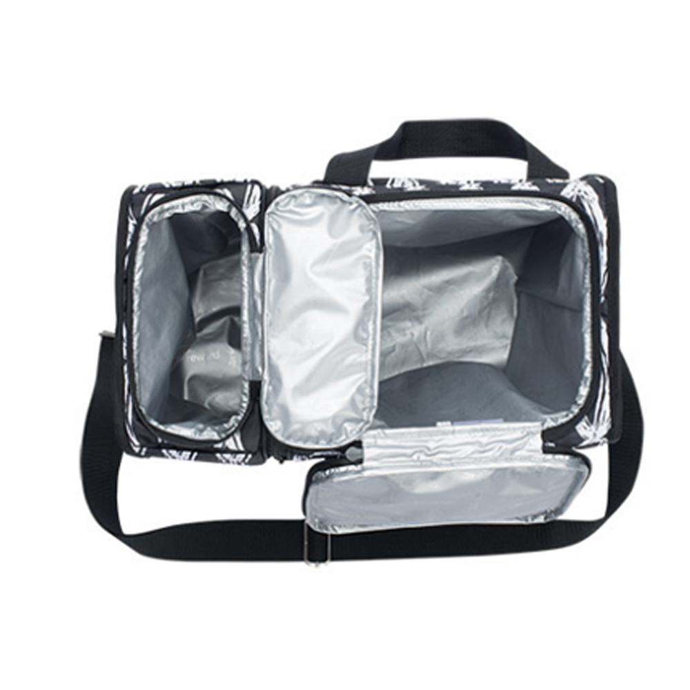 Insulated double compartment cooler bag for delivery frozen food
