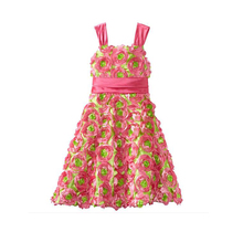 Party girls flower pattern sleeveless dress for 2-12 years old girls