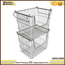 2017 new iron metal wire stacking baskets stackable storage bins with handles