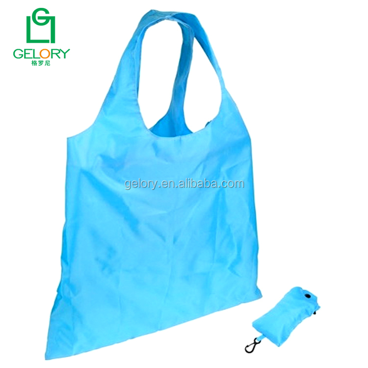 Customized eco friendly T-shirt style reusable shopping bags foldable with snap carabiner clip