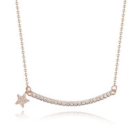 Group curving bar with five pointed star pendant necklace gold necklace