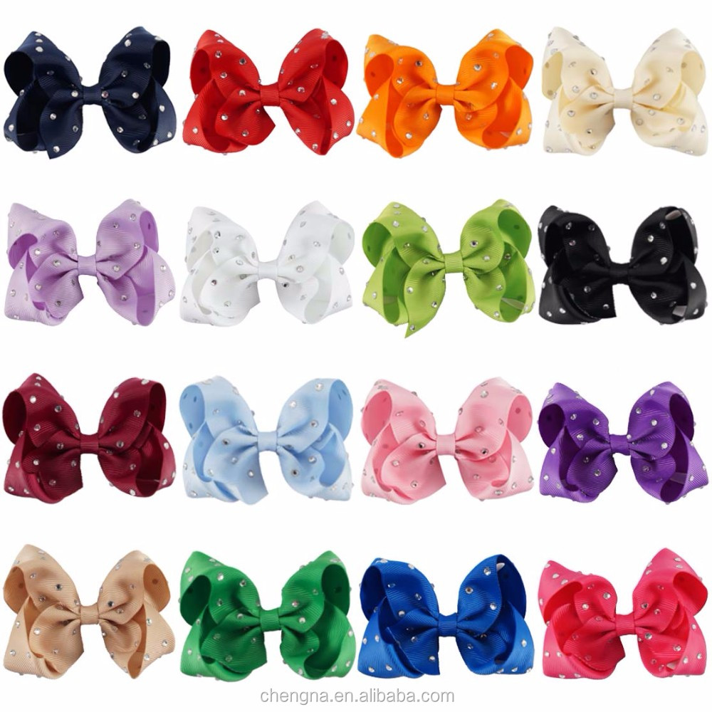 Hot Sale 4 Inch Rhinestone Hair Bow Wholesale HBW-1612264-L