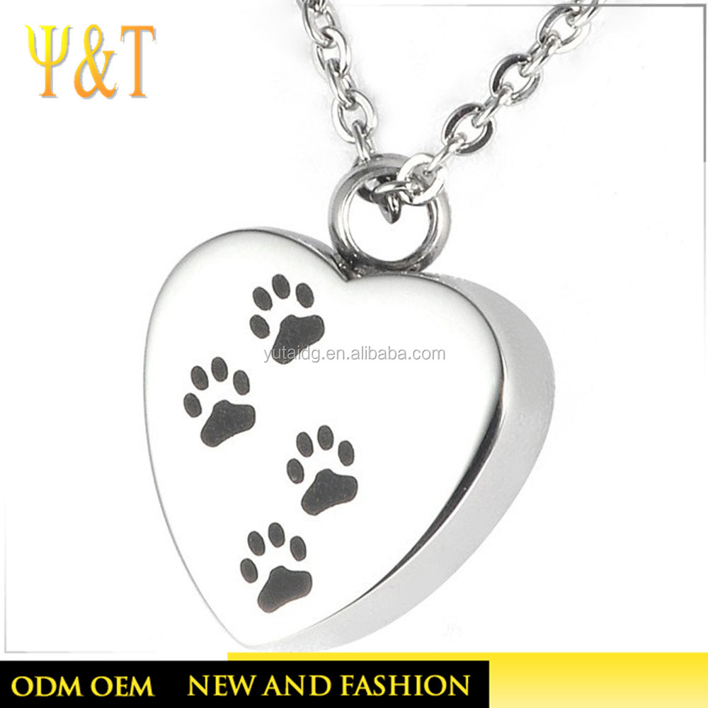 Stainless Steel Heart Shape Pendants, Pet Cremation Jewelry
