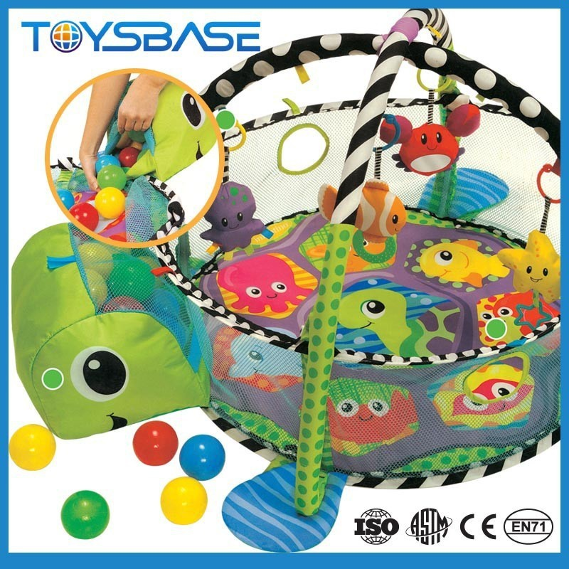 Baby activity play gym mat with ball pit