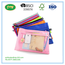 Colorful Double Layer canvas Cloth Zipper Paper File Folder Book Pencil Pen Case Bag File Document Bags