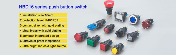 16mm waterproof IP65 push button switch with led