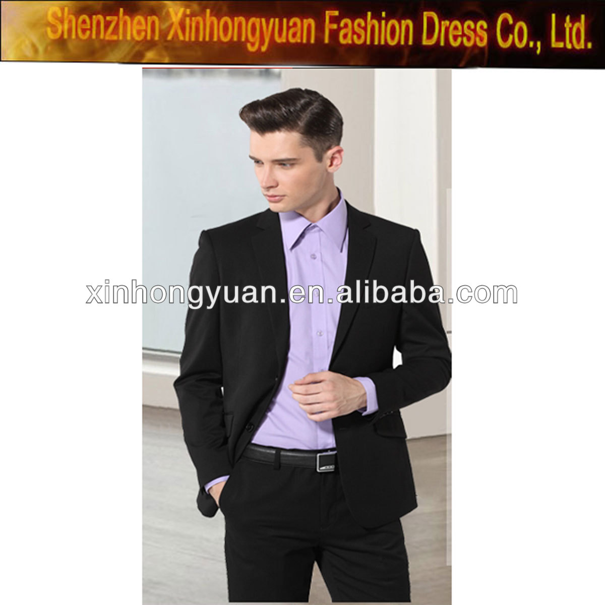 high quality black western style wool french suit for men