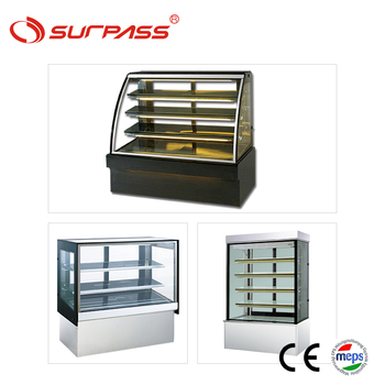 Curve glass bakery display curved refrigerator for cakes cake showcases
