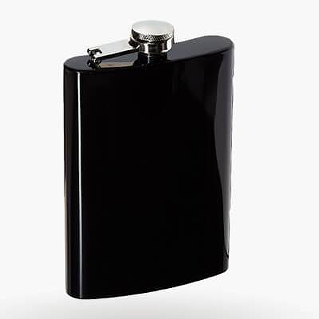 Custom black paint coated stainless steel jug,hip flask with leather custom logo