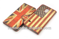 Mobile Phone UK/USA Flag Pattern Leather Stand Case with Card Slots for Samsung Galaxy S5 i9600