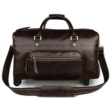 High quality men's business bags handmade crazy horse leather unique tote luggage wheel travel trolley bags