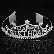 WLHG-1273 Alloy Good Most Popularized Sold On Alibaba Korean Fashion Jewelry Wholesale Happy Birthday Tiara Hair Comb Hot Sale