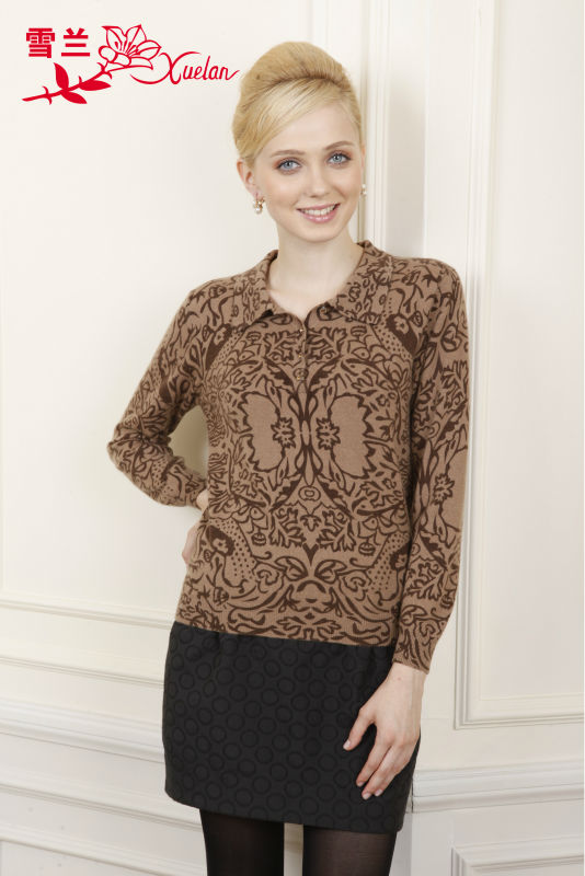 L-052 2013 Autumn brown printed long sleeve pullover cashmere sweater for women