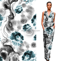 New design floral printed silk crepe fabric dress
