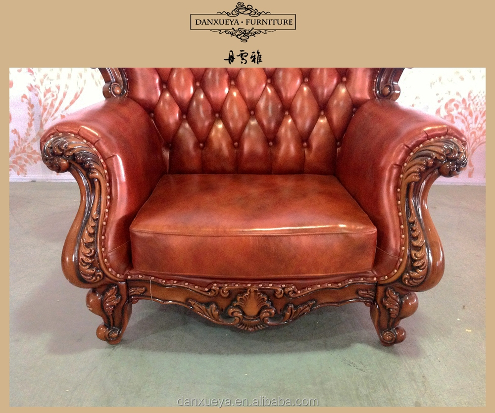 Royal wood frame antique green leather sofa view green for Antikes sofa gebraucht