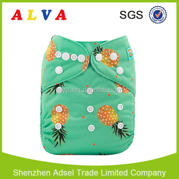 Alvababy Pineapple Pattern Baby Diapers Reusable Baby Cloth Nappy