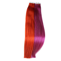 "Free Shipping 18"" 20"" 22"" 24"" Pink Red Purple Orange Color PU Tape Hair Extensions Straight Skin Weft"