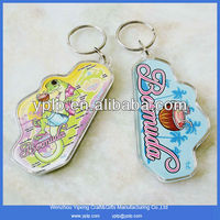 Customized Plastic Clear Acrylic Key Tag Holder Keychain Photo Insert For Souvenir Products