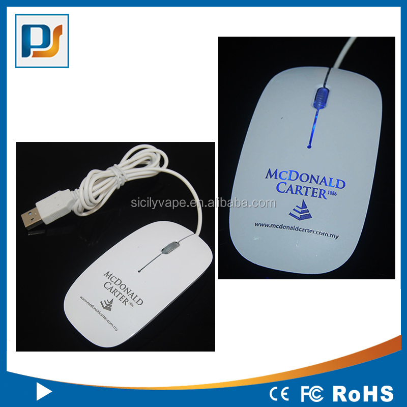 Mini Optical USB Slim Wired Mouse with colorful LED Lighting Logo