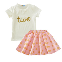 Baby Girls Clothing 1st Birthday 2pcs Summer Short Sleeved + Skirt