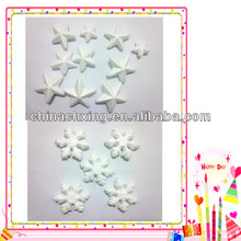 Different kinds christmas styrofoam artwork decorations styrofoam stars and snow flakes