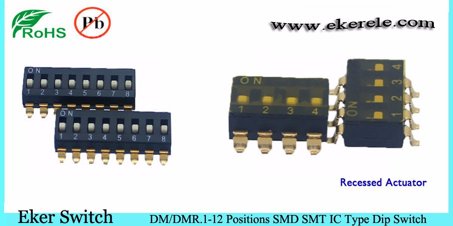 2 Position IC type Mini Smd Dip Switch Raised Actuator