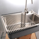 large 304 stainless steel silicone roll up dish drying rack