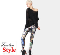 cheap womens custom sublimation digital multi color printed seamless capri leggings