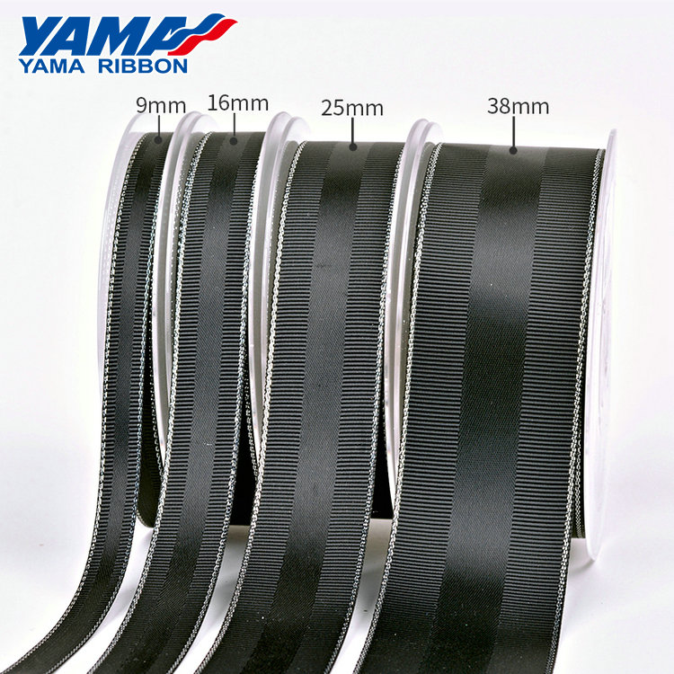 YAMA stocked wholesale black grosgrain satin celebrate ribbon