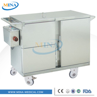 MINA-FC004 stainless steel heat meals hospital food warm cart with soup bucket