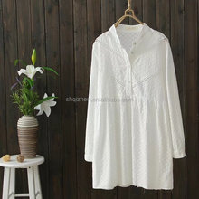 Latest fashion one size long sleeve stand collar women korean style cotton white blouse
