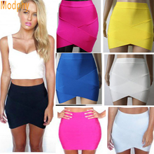 Rayon Good Elastic Women Sexy Bandage Skirt Mini Slim Pencil Clubwear Suitable Casual Formal Candy Multi Color Clothing HL135-2