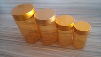 130/180/300/450/600/800ml pill jar with metal gold cap health care pet container
