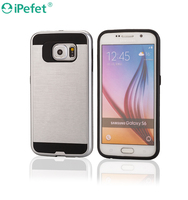 iPefet-Premium 2 in 1 Mobile phone Case with Metal Bumper Brush Back cover with TPU Inner Layer for Samsung Galaxy S6 edge Plus