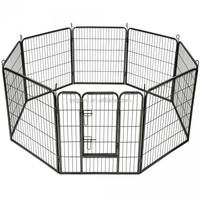 8 Panels Heavy Duty Dog Cat Rabbit Playpen Enclosure Fence Pet Cage