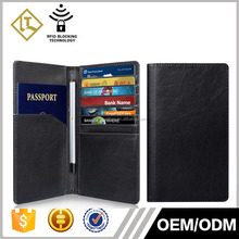 Best Quality Genuine Leather Travel Wallet Document Passport Holder with pen holder For Men And Women