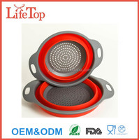 FDA Apporoved 2 size Collapsible Silicone Colander/Strainer