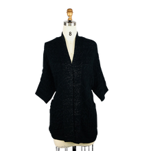 New Arrival ladies long black warm chunky cable knit wrap cardigan sweater